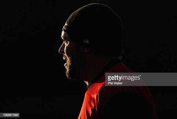 John Afoa of the All Blacks looks into the fading light during a New Zealand All Blacks recovery session at Westmanstown on November 15 2010 in...