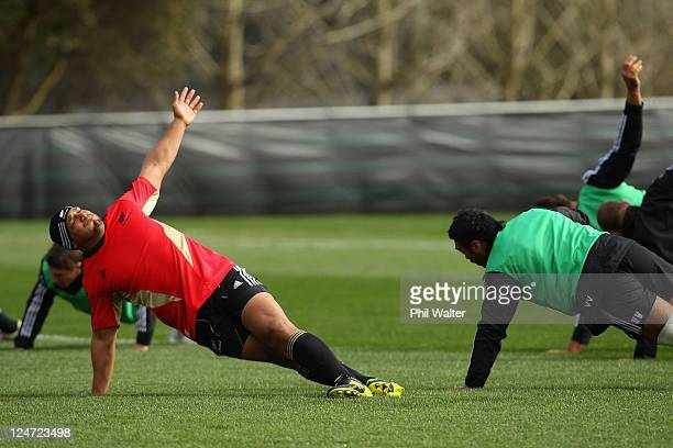 John Afoa of the All Blacks warms up before a New Zealand All Blacks IRB Rugby World Cup 2011 training session at Beetham Park on September 12 2011...