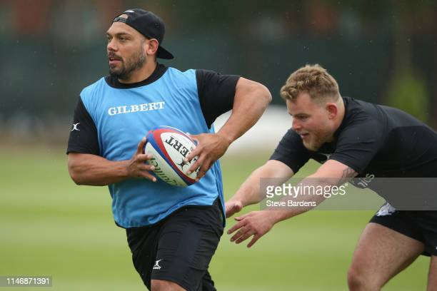 John Afoa of the Barbarians runs with the ball during a Barbarians training session on May 29 2019 in London England The Barbarians face England at...