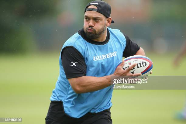 John Afoa of the Barbarians runs with the ball during the Barbarians Squad training session on May 29 2019 in London England The Barbarians face...