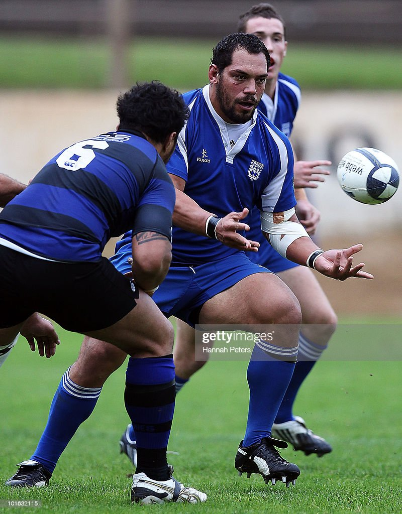 John Afoa of University passes the ball out during the club rugby match between Ponsonby and University at Western Springs Stadium on June 5, 2010 in Auckland, New Zealand.