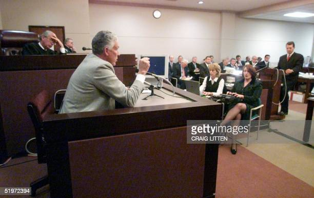 John Ahman a witness called by the Bush campaign answers questions from Bush lawyer Phil Beck as Leon County Circuit Court Judge N Saunders Sauls...
