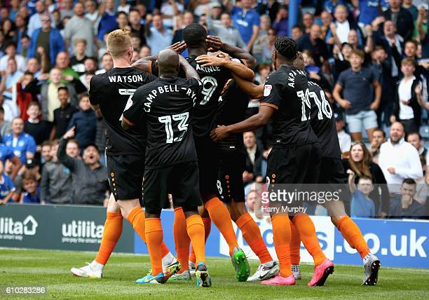 John Akinde of Barnet celebrates by gesturing to the Potrsmouth fans during the Sky Bet League Two match between Portsmouth and Barnet at Fratton...
