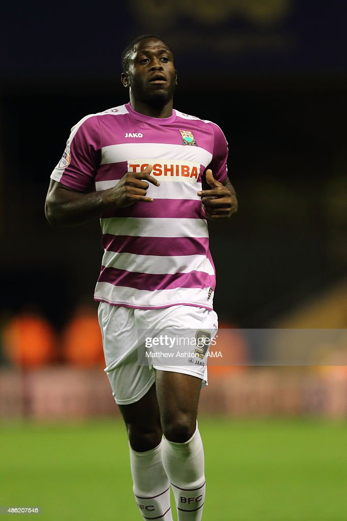 John Akinde of Barnet during the Capital One Cup match between Wolverhampton Wanderers and Barnet at Molineux on August 25, 2015 in Wolverhampton, England.