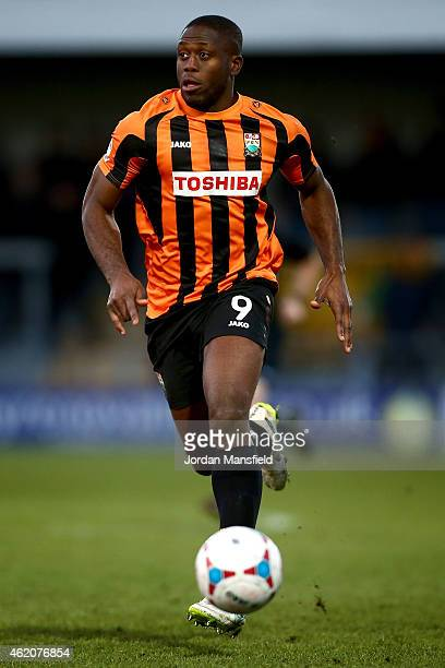 John Akinde of Barnet in action during the Vanarama Football Conference League match between Barnet and Southport at The Hive on January 24 2015 in...