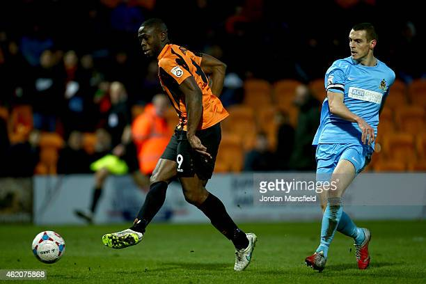 John Akinde of Barnet scores to make it 30 during the Vanarama Football Conference League match between Barnet and Southport at The Hive on January...