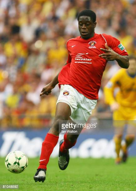 John Akinde of Ebbsfleet runs with the ball during the FA Trophy Final between Ebbsfleet United and Torquay United at Wembley Stadium on May 10, 2008...