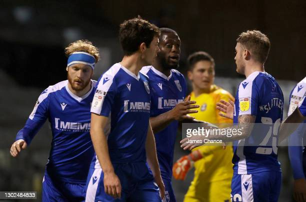John Akinde of Gillingham FC celebrates with Callum Slattery after scoring his sides first goal during the Sky Bet League One match between...
