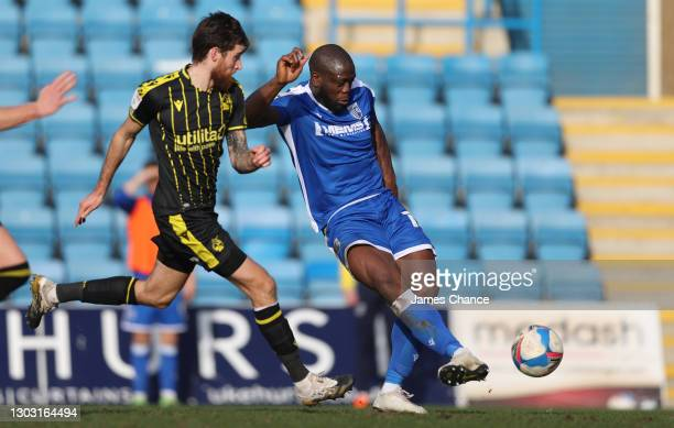 John Akinde of Gillingham FC scores his sides first goal during the Sky Bet League One match between Gillingham and Bristol Rovers at MEMS...