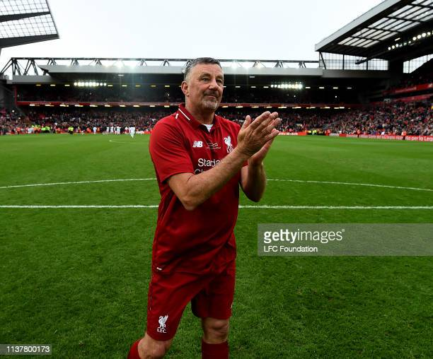 John Aldridge of Liverpool FC Legends showing his appreciation to the fans at the end of the friendly match between Liverpool FC Legends and AC Milan...