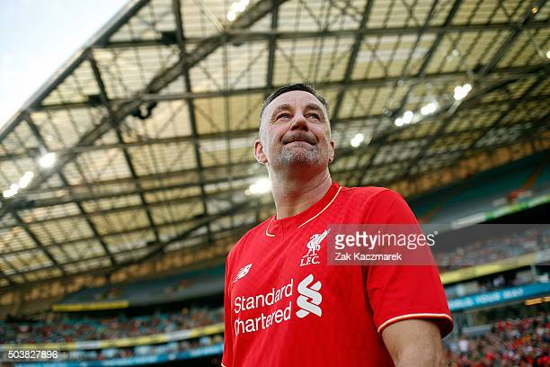 John Aldridge of Liverpool FC Legends takes to the field before the match between Liverpool FC Legends and the Australian Legends at ANZ Stadium on...