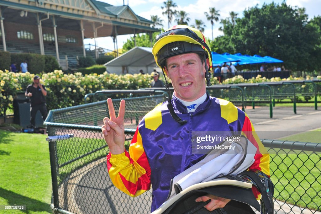 John Allen after winning the Adroit Insurance BM70 Handicap at Bendigo Racecourse on December 06, 2017 in Bendigo, Australia.