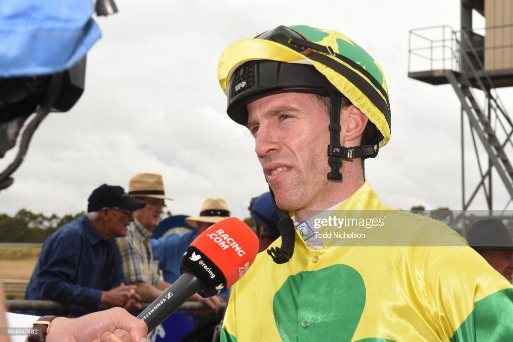 John Allen after winning the Warrnambool Racing Club BM58 Handicap at Hamilton Racecourse on January 12, 2018 in Hamilton, Australia.