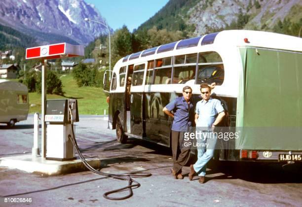 John Allen and Tipper Wilson with a Ferrari 275GTB/C Refuelling AEC 'Hannibal' Aosta Italy