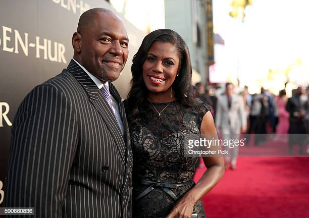 "John Allen Newman and Omarosa Manigault attend the LA Premiere of the Paramount Pictures and MetroGoldwynMayer Pictures title ""BenHur"" at the TCL..."