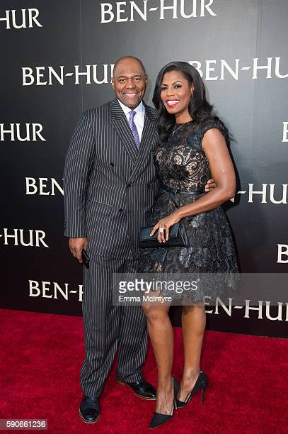 John Allen Newman and Omarosa Manigault attend the LA Premiere of the Paramount Pictures and MetroGoldwynMayer Pictures title 'BenHur' at TCL Chinese...