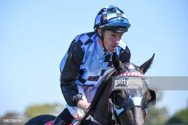 John Allen returns to the mounting yard aboard Ringerdingding after winning the Ladbrokes Sandown Guineas at Ladbrokes Park Hillside Racecourse on...