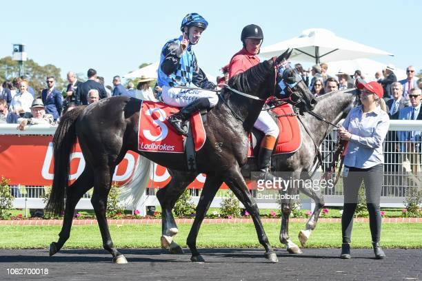 John Allen returns to the mounting yard on Ringerdingding after winning the Ladbrokes Sandown Guineas at Ladbrokes Park Hillside Racecourse on...