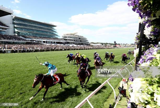 John Allen rides Extra Brut to win race seven the AAMI Victoria Derby during Derby Day at Flemington Racecourse on November 03 2018 in Melbourne...
