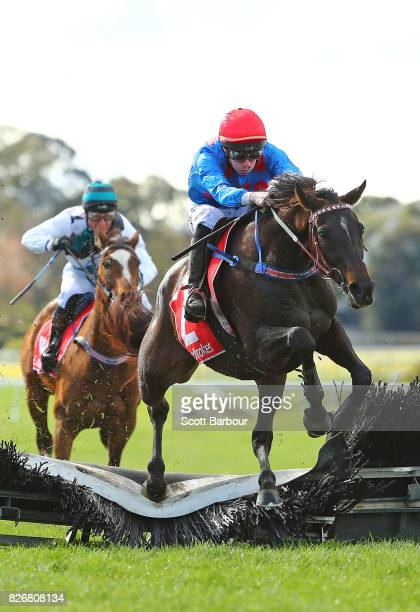 John Allen riding Ancient King jumps the last hurdle as they win race 5 the Grand National Hurdle during Grand National Hurdle Day at Sandown...