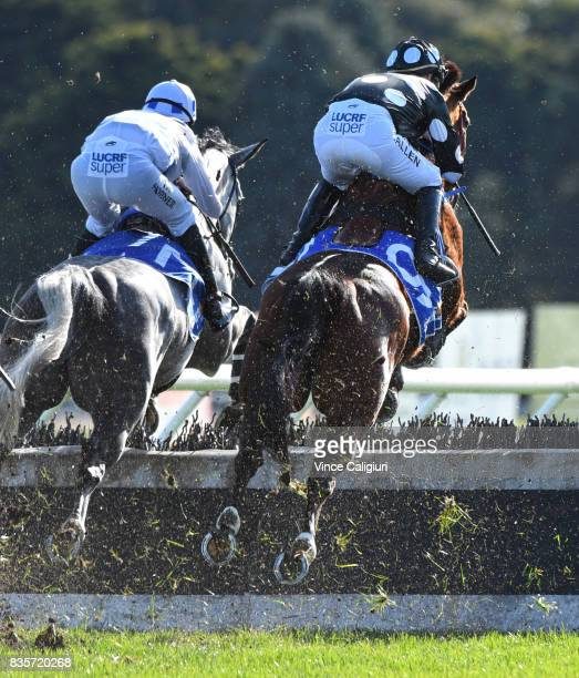 John Allen riding Chequered Flag and Lee Horner riding Don't Be Shy in Race 4 JJ Houlahan Hurdle during The Grand National Steeple Day on August 20...