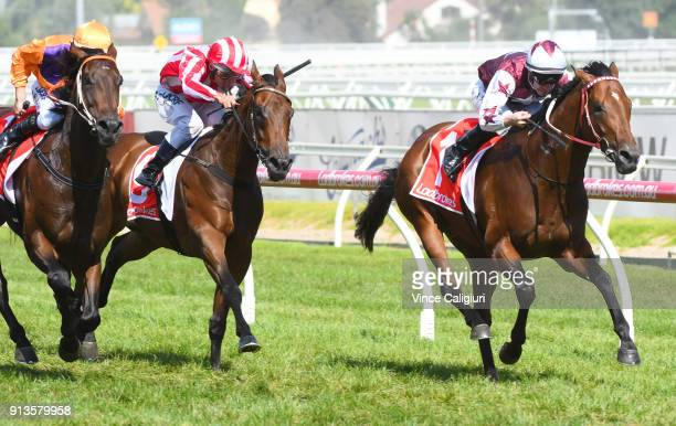 John Allen riding Cliff's Edge wins Race 8 Manfred Stakes during Melbourne Racing at Caulfield Racecourse on February 3 2018 in Melbourne Australia