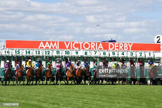 John Allen riding Extra Brut during the start before winning Race 7 AAMI Victoria Derby during Derby Day at Flemington Racecourse on November 3 2018...