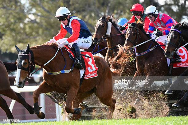 John Allen riding Gingerboy does a great job to hang on before finishing 3rd to Zanteco in Race 4 the Grand National Hurdle during Grand National Day...