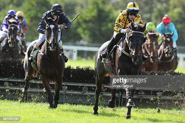 John Allen riding Gotta Take Care after jumping the last hurdle before winning Race 5 the Sovereign Resort Galleywood Hurdle during the Warrnambool...