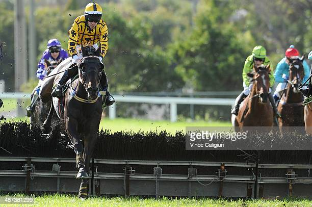 John Allen riding Gotta Take Care jumping the last hurdle before winning Race 5 the Sovereign Resort Galleywood Hurdle during the Warrnambool May...