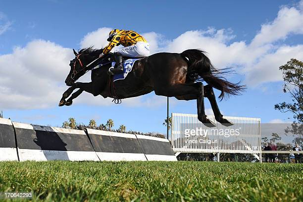 John Allen riding Gotta Take Care jumps the last hurdle on his way to win the Brendan Drechsler Hurdle during Mosstropper Steeplechase Day at Bendigo...