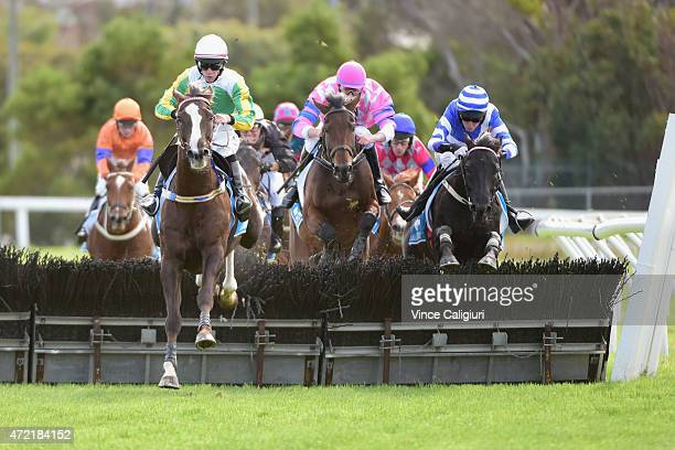 John Allen riding Now and Zen jumps the last hurdle before winning Race 1 the Callaghan Motors Maiden hurdle during Brierly Day at Warrnambool Racing...