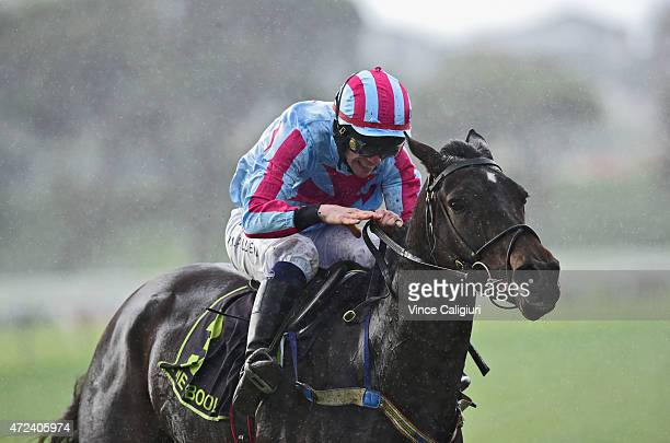 John Allen riding Regina Coeli winning Race 7 the Wheelie Waste Grand Annual Steeplechase during Grand Annual Day at Warrnambool Racing Club on May 7...