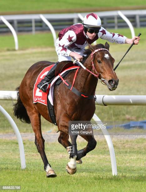 John Allen riding Renew races away to win Race 4 The Australian Hurdle during Melbourne Racing at Sandown Lakeside on May 27 2017 in Melbourne...