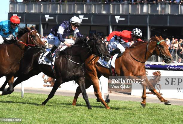 John Allen riding Trap For Fools defeats Mark Zahra riding Latrobe in Race 8 Seppelt Mackinnon Stakes during Stakes Day at Flemington Racecourse on...