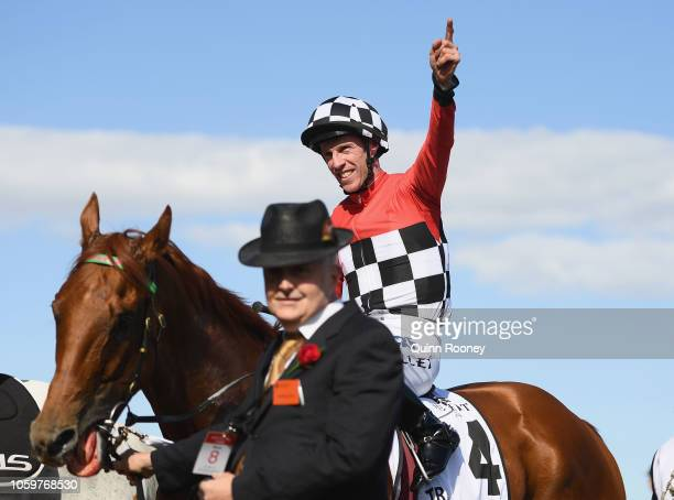 John Allen riding Trap For Fools returns to scale after winning race 8 the Seppelt Mackinnon Stakes during Stakes Day at Flemington Racecourse on...