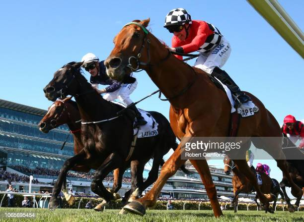 John Allen riding Trap For Fools to win the race eight the Seppelt Mackinnon Stakes during Stakes Day at Flemington Racecourse on November 10 2018 in...