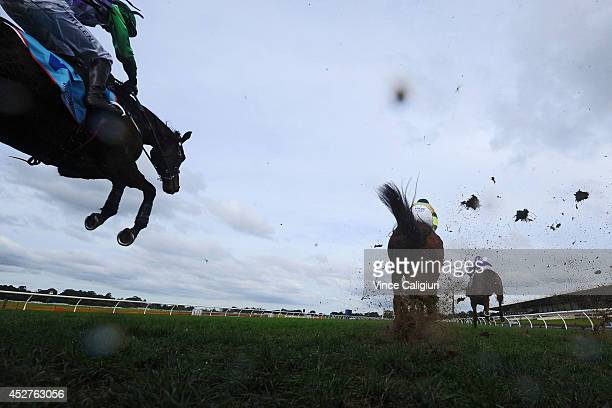 John Allen riding Wells jumps the steeple during the first lap before winning Race 4 the Grand National Steeplechase during the Grand National...
