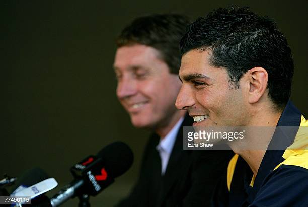 John Aloisi and Central Coast Mariners Executive Chairman Lyall Gorman speak at a press conference announcing Aloisi's signing for the Mariners at...