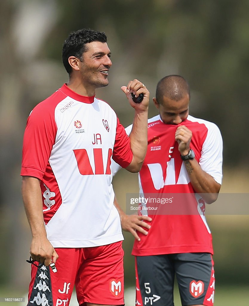 John Aloisi, coach of the Heart gestures as Fred (R) of the Heart looks on during a Melbourne Heart A-League training session at La Trobe University Sports Fields on February 21, 2013 in Melbourne, Australia.