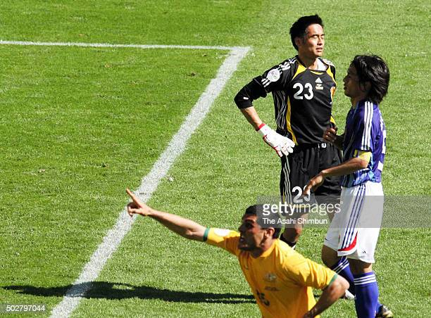 John Aloisi of Australia celebrates scoring his team's third goal during the FIFA World Cup Germany 2006 Group F match between Australia and Japan at...