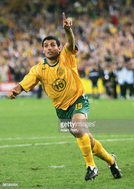 John Aloisi of Australia celebrates scoring the winning penalty in the penalty shoot-out during the second leg of the 2006 FIFA World Cup qualifying...