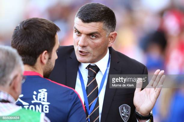 John Aloisi of Brisbane Roar reacts after the round 23 ALeague match between Adelaide United and the Brisbane Roar at Coopers Stadium on March 19...