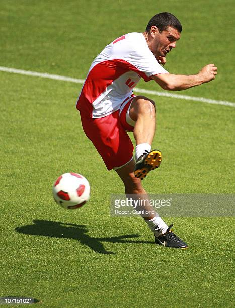 John Aloisi of the Heart shoots on goal during a Melbourne Heart ALeague training session at AAMI Park on November 26 2010 in Melbourne Australia