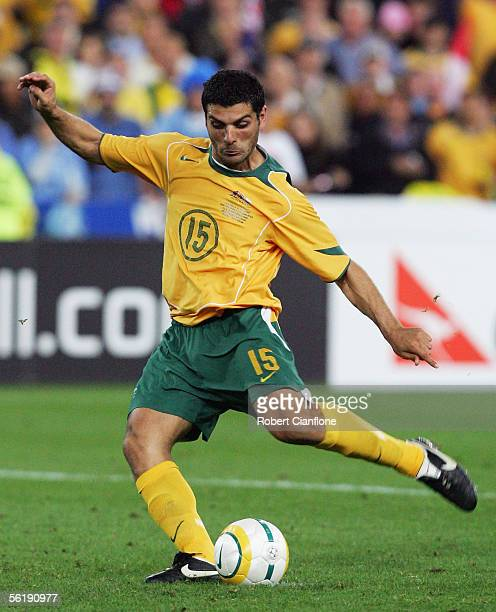 John Aloisi of the Socceroos lines up to strike the winning penalty in the penalty shoot-out during the second leg of the 2006 FIFA World Cup...