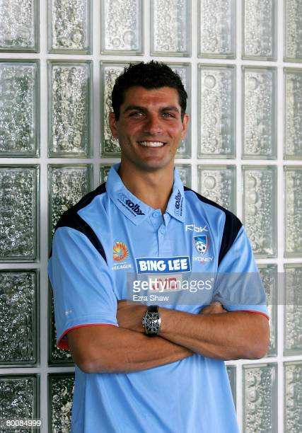 John Aloisi poses following a press conference where it was announced that he signed with Sydney FC at the Sydney Football Stadium on March 3 2008 in...