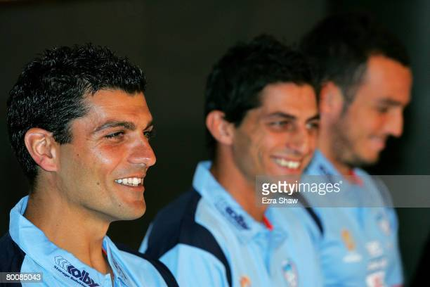 John Aloisi Simon Colosimo and Mark Bridge speak at a press conference announcing that they have signed with Sydney FC at the Sydney Football Stadium...