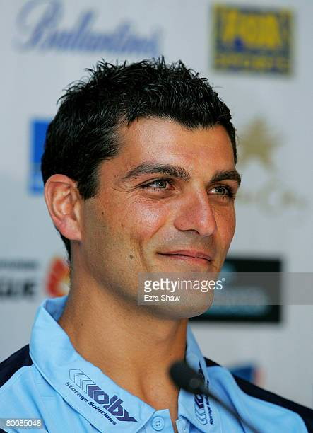 John Aloisi smiles at a press conference annoucing he has signed with Sydney FC at the Sydney Football Stadium on March 3 2008 in Sydney Australia