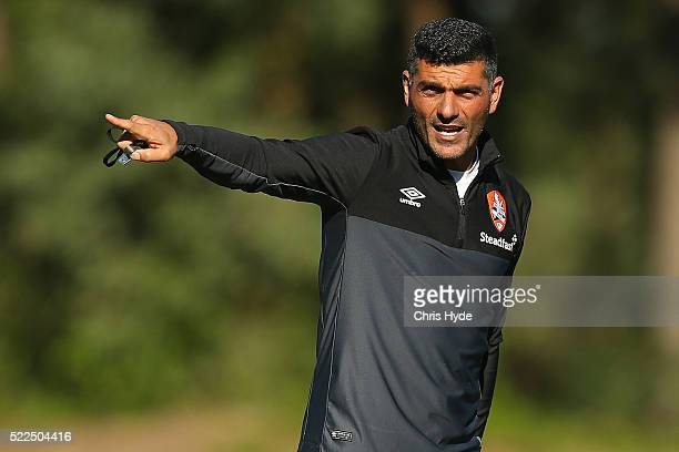 John Aloisi talks to players during a Brisbane Roar ALeague training session at Griffith University on April 20 2016 in Brisbane Australia
