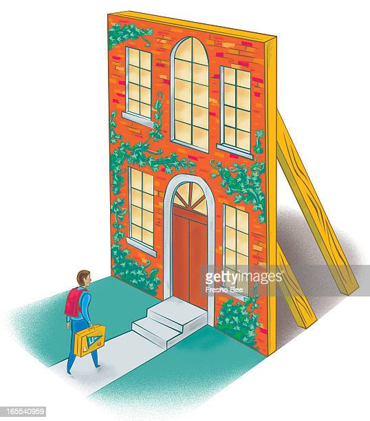 John Alvin color illustration of a student arriving to college walking into a building facade